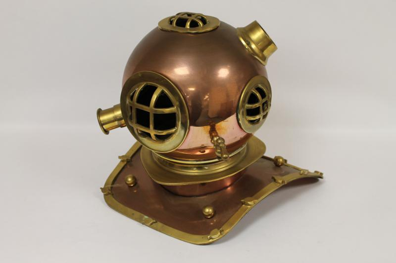 A Brass and Copper Diver's Helmet