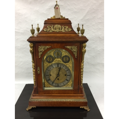 An impressive Victorian oak chiming double fusee bracket clock