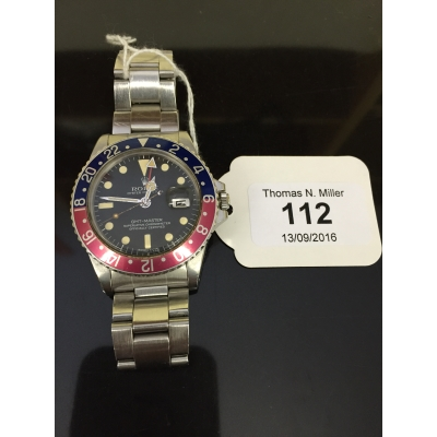 A Rolex GMT Master stainless steel Gentleman's wrist watch,  model 1675