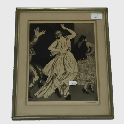 Dame Laura Knight : View of Spanish Dancers, drypoint etching with aquatint, signed in pencil