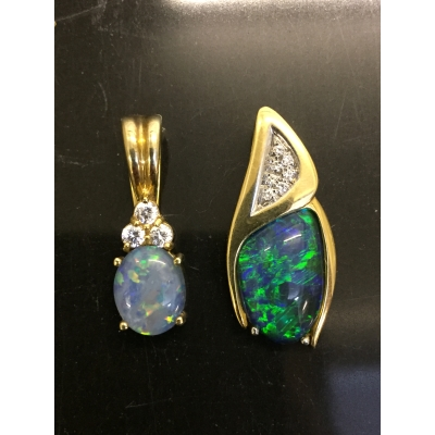 Two 18ct gold opal and diamond pendants