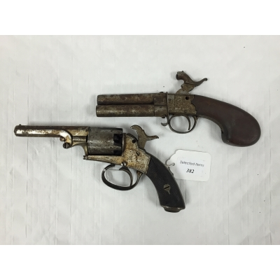 A nineteenth century double barrel percussion pistol, together with a nineteenth century percussion cap revolver