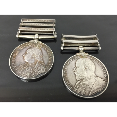 A Queen's South Africa Medal, with clasps Transvaal, Orange Free State and Cape Colony, named to 3332 Pte. E. Taylor. Together with a King's South Africa Medal with clasps South Africa 1901 and South Africa 1902, to 3332 Pte. S. Taylor