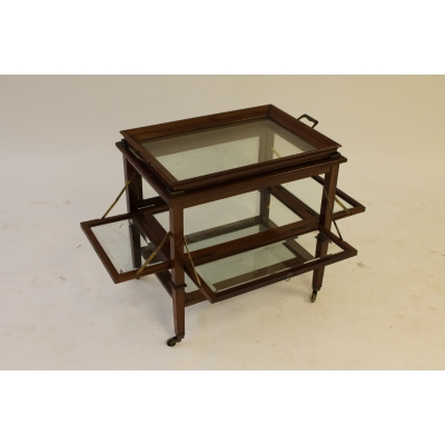 A Glazed Mahogany Fold Out Butlers' Table