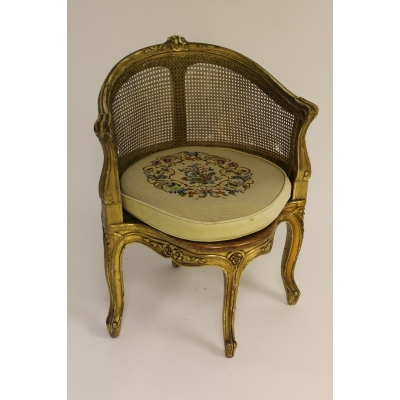 A French Gilt and Cane Seated Armchair