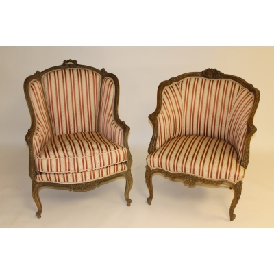 A Pair of 19th Century French Giltwood Armchairs