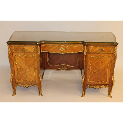 A Fine 19th Century Satinwood, Crossbanded and Ormolu Mounted Twin Pedestal Desk