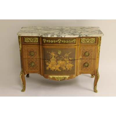 A Fine Continental Satinwood, Ormolu and Marble Topped Sideboard