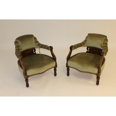 A Pair of Victorian Green Velvet Upholstered Salon Armchairs