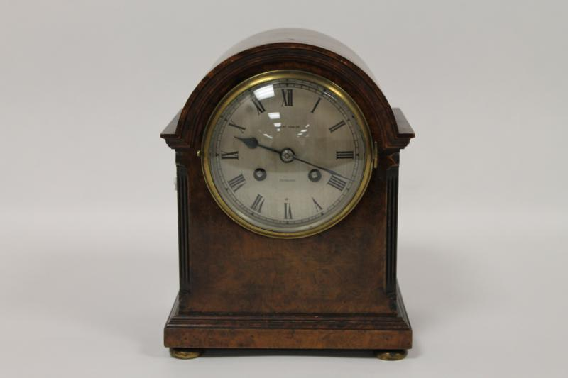 A Victorian Burr Walnut Mantel Clock