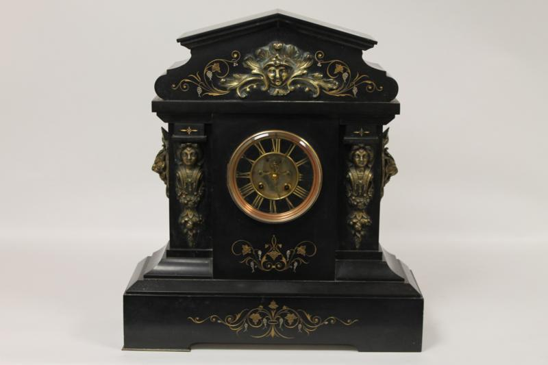 A Victorian Slate and Ormolu Mounted Mantel Clock