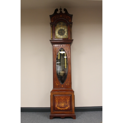 An Edwardian Mahogany and Satinwood Inlaid Musical Longcase Clock