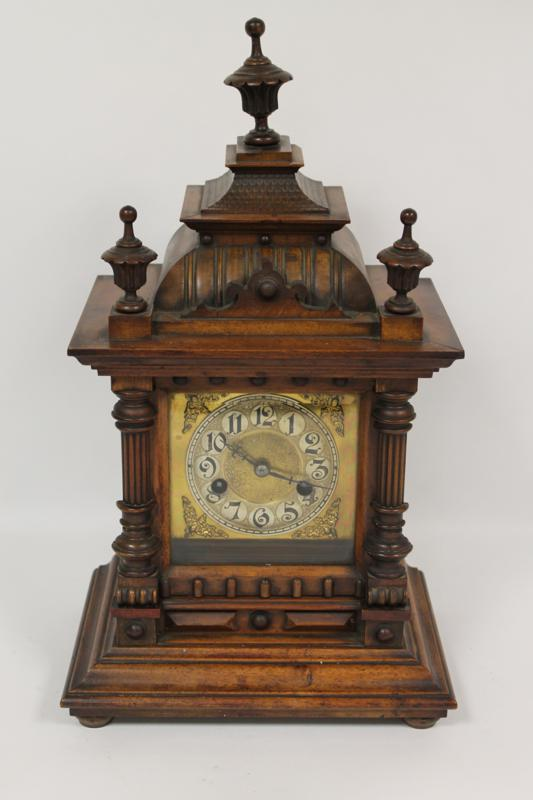 A Victorian Walnut Cased Bracket Clock