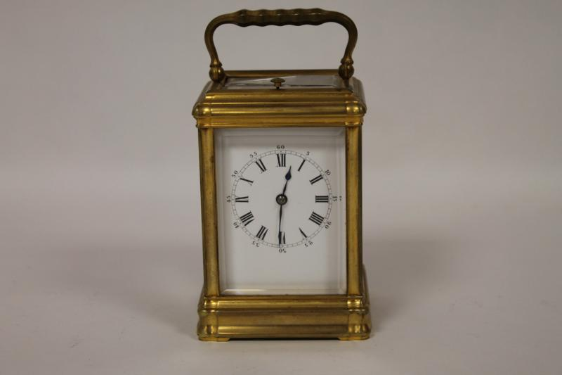 A French Striking and Repeating Brass Carriage Clock